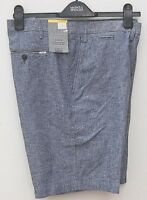 M&S Mens Gents Tailored  Fit Linen Blend Shorts Light Gray Size 38 Waist