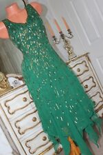 TOGETHER Green Sequinned  Fully Lined Full Length Dress Size 12