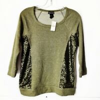 NWT Wetseal Olive Green Sequin 3/4 Sleeve Scoop Neck Top Shirt Womens Sz Small