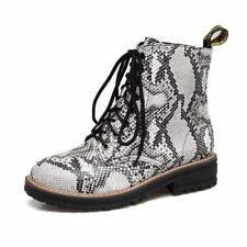New Ladies Cuban Heels Lace Up Snake Ankle Boot Combat Motorcycle Riding Shoes B