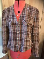 Précis Petite Check Jacket Wool Mix Made UK Tailored 10 Vintage Fitted Retro 80s