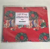 VTG CHRISTMAS WRAPPING PAPER GIFT WRAP Teddy Bear Christmas Tree Toy Brand New