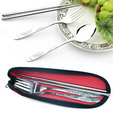 Tableware Cutlery Set Stainless Steel Spoon Fork Chopsticks For Travel Camping