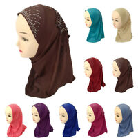 Muslim Girls Kids Rhinestone Hijab Hat Arab Scarf Cap Shawls Wrap Headwear Cover