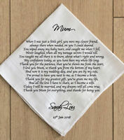 Mother of the Bride Wedding Favour Personalised Handkerchief Hankie Gift Wrapped