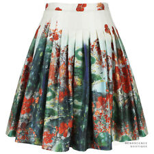 Erdem White Green Red Floral Landscape Salome Dream Full Pleated Skirt UK8 IT40