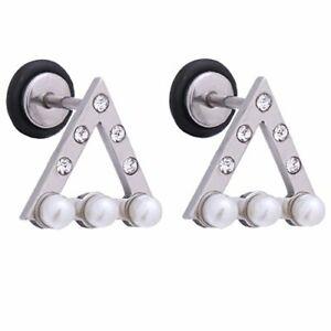 BodyJ4You Earrings Studs Jeweled Triangles 18G Screw Back Ear Piercing Jewelry