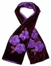 echarpe fantaisie femme velours violet prune fleurs satin 7f029d266b6