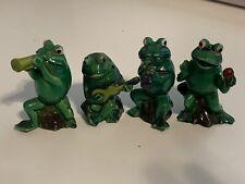 Vintage 1978 Enesco Frog Band Quartet Green Painted Figurines Musical Instrument
