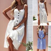 Summer Women Floral Midi Dress Ladies Sleeveless Party Long Maxi Beach Sundress