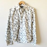 Tin Haul Womens Shirt Pearl Snap Western Long Sleeve Floral Cotton Small White