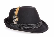 Oktoberfest Alpine Fedora Hat - Black Wool - Nice, High Quality, Size XXL