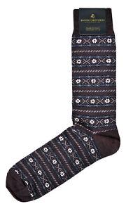 Brooks Brothers Mens 1 Pair Red Fair Isle Merino Wool Dress Socks 7-12 8337-7