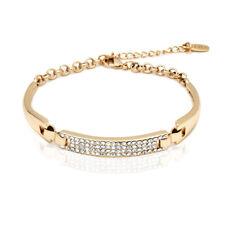 Sevil 18K Gold Plated Block Bracelet with Swarovski Elements