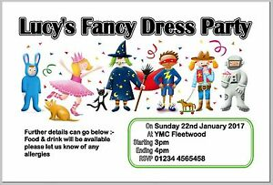 PERSONALISED FANCY DRESS BIRTHDAY PARTY INVITE/INVITES/INVITATION CARDS⭐⭐⭐⭐