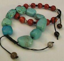 2 Bracelets,Coral & Turquoise Gemstone Drawstring Bracelets
