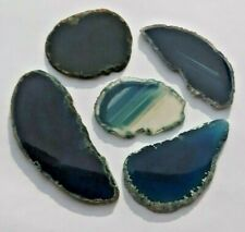 FIVE SMALL BLUE AGATE SLICES JOB LOT BEAUTIFUL CRYSTALS 40-72MM