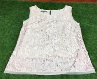 Laura Ashley Size 10 Lace Effect Nude Blush Colour Sleeveless Top Frayed Hem