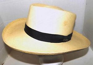 Vintage Natural Straw Panama Hat Barbisio Medium