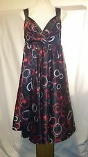 Basque Ladies Dress in Black with a Red and White Geometric Pattern Size 12