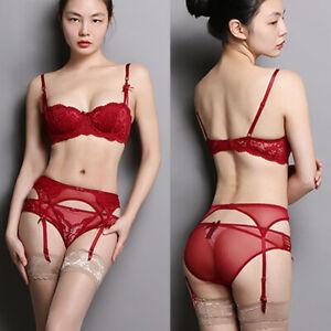 Uk Sexy Luxury Women Floral Lace Balcony Bra & Panties & Garters & 3 PCS ABCD DD