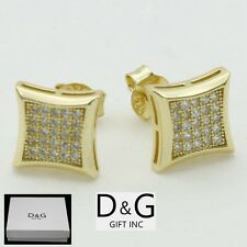 Cz 9mm Square.Studs*Earring*Unis ex,Box Dg Mens Sterling-Silver 925.Gold Iced-Out