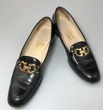 Salvatore Ferragamo Black Loafer Slip On Shoes Size 7.5 AAAA Forever Bit Buckle