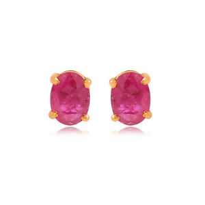 Real 1.40 TCW Oval Ruby Gemstone Stud Earrings Solid 14k Yellow Gold Jewelry NEW