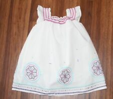 Girls - BABY GAP - White Ruffle Ruched Spring Summer Embroidered Dress 12 18