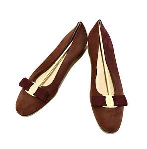 Vintage SALVATORE FERRAGAMO Varina Lillaz Suede Leather Ballet FLATS Shoes 9 AA