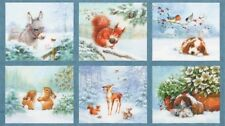 Snow Pals Digital Print Christmas Panel cotton quilt fabric Kaufman Baby Animals