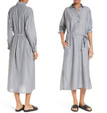 E042 NWT VINCE CLASSIC STRIPE TWIST FRONT WOMEN SHIRT DRESS SZ 4 6 8 $395