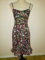 BETTIE PAGE Dress Sz XS Black Floral Hearts Butterfly Print Wiggle Dress