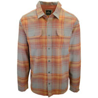 prAna Men's Maroon Gold Grey Plaid L/S Flannel Shirt (S04)
