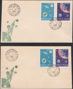 NO. VIETNAM, 1966. First Day Covers Luna 9 Fight, 429-430, Perf/Imperf