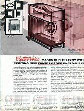 1957 Electro-Voice Hi-Fi Phase Loaded Speaker Enclosures 4 Page Print Ad