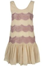 Stunning Topshop Nude & Lilac Lace Evening Occasion Day Tunic Dress Size 8