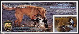 OHIO #22 2003 STATE DUCK STAMP HOODED MERGANSER & DOG by Jeffrey Kleinfelter