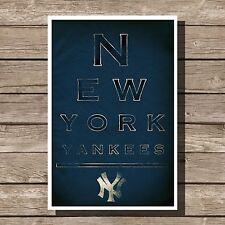 "New York Yankees Poster MLB Baseball Eyechart Art Print 12x16"""