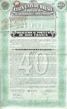 Brazil 5% Bond 1931 State Consalidation Loan 1000 fr Uncancelled Deco coupons