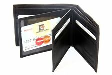 Leather Bifold 12 Credit Card Slot 2 ID Window Black Men's Wallet