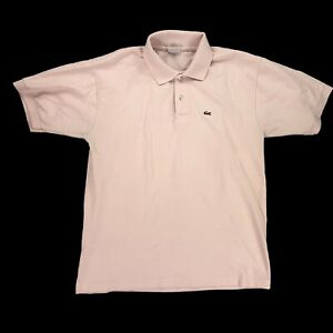 Lacoste Polo Shirt Size Large Light Pink Salmon 1/4 Button Up Alligator