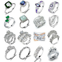 Luxury Women 925 Silver Jewelry Wedding Rings White Sapphire Ring