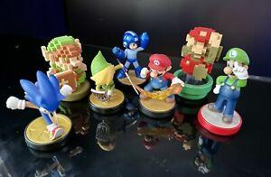 Amiibo Nintendo Mario, Luigi, Link, Sonic, Megaman Smash Bros 7 figures Lot