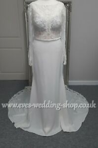 Stella York wedding dress 6817 with lace cut out train UK 12- check measurements