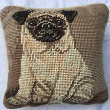 """Needlepoint Pillow Fawn Pug Dog beige and brown velvet back cream7 1/2"""" x 7 1/2"""""""