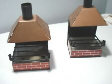 Vintage...Pair..Of...Tin...Fireplace...Patio...Ashtray's..&..Cigarette...Japan