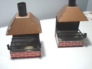 Vintage...Pair..Of...Tin...Fireplace...Patio...Ashtray's..&..Cigarette...Japan