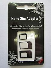 Micro + Nano Sim Card Adaptor Conversion Kit for Apple Iphone 4 /4S /5 /5S /6