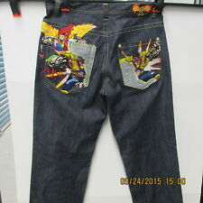 Miskeen Men's Dark Blue Jeans Size 34 Embroidered Comic Graphics Hip Hop Baggy